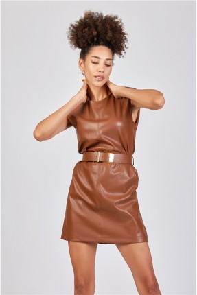 فستان جلد مزين بحزام - بني