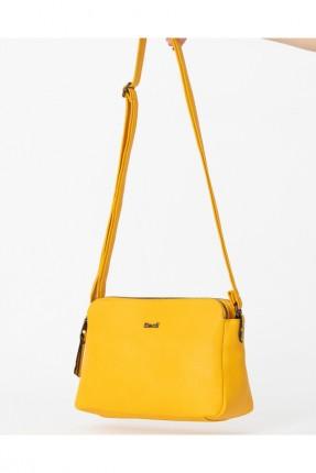 حقيبة يد نسائية مزينة بشعار الماركة - اصفر
