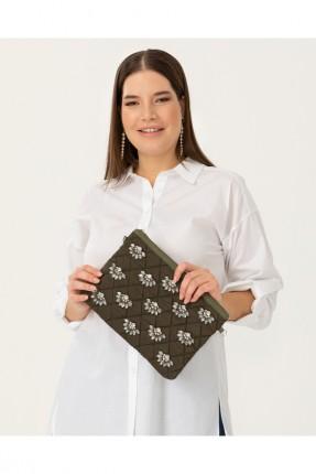 حقيبة يد نسائية ميزنة بستراس - زيتي