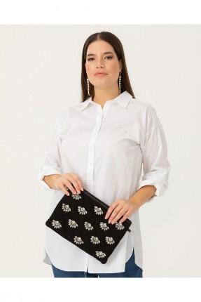 حقيبة يد نسائية مزين بستراس - اسود