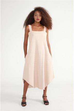 فستان مزين بجيب - بيج
