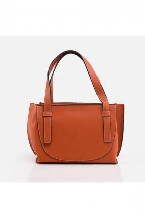 حقيبة يد نسائية مزينة بدرزة - برتقالي