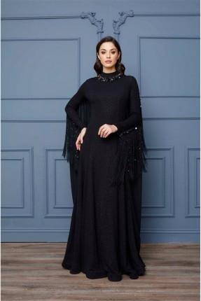 فستان رسمي مزين بشراشيب