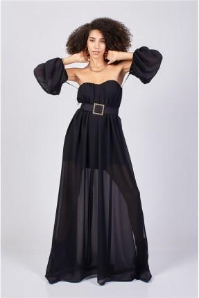 فستان شيفون مزين بكسرات