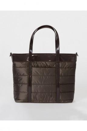 حقيبة يد نسائية بخطوط درزة - بني