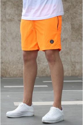 شورت سباحة رجالي مزين بطبعة جانبية - برتقالي