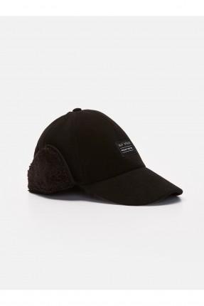 قبعة رجالية مزينة بكتابة - اسود