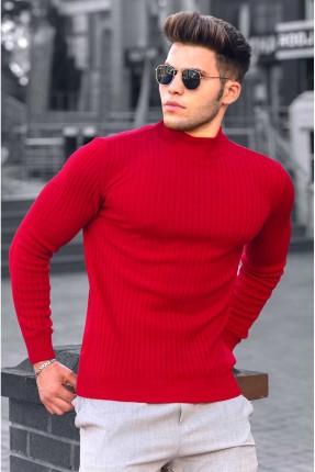 كنزة رجالية سادة اللون - احمر
