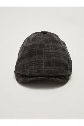 قبعة رجالية مزينة بنقشة - اسود