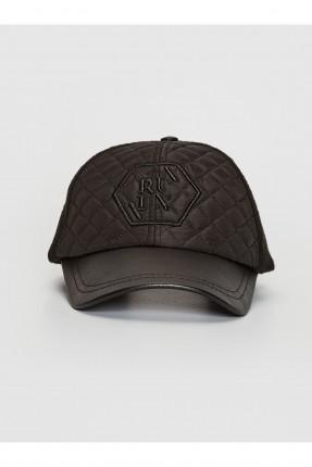 قبعة رجالية مزينة بحبكة - اسود