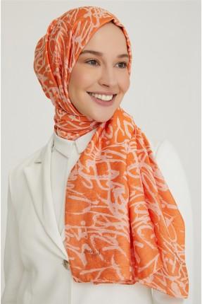 حجاب تركي منقوش - برتقالي