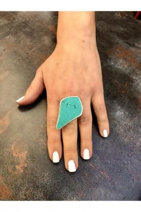 خاتم نسائي مزين بحجر ملون - تركواز