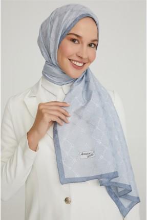 حجاب تركي مزين بتفاصيل لامعة - ازرق