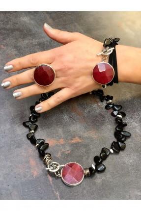 خاتم نسائي مزين بحجر دائري - خمري