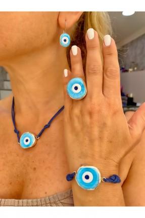 خاتم نسائي مزين بحجر ازرق