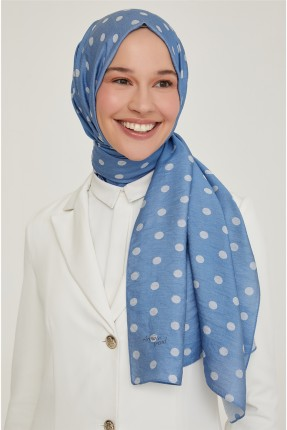 حجاب تركي منقط - ازرق