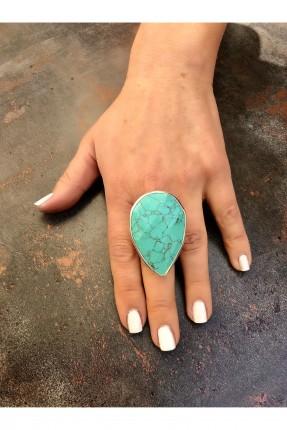خاتم نسائي مزين بحجر منقوش - تركواز
