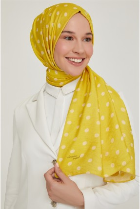 حجاب تركي مزين بنقاط - اصفر