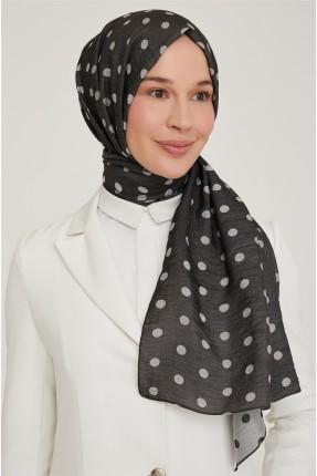 حجاب تركي منقط - اسود