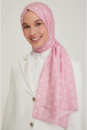 حجاب تركي منقط مزين باسم الماركة - وردي