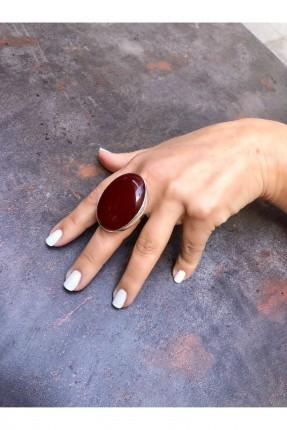 خاتم نسائي مزين بحجر ملون - خمري