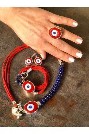 خاتم نسائي مزين بحجر احمر