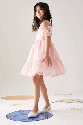فستان رسمي اطفال بناتي مزين باكتاف مفتوحة