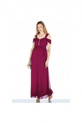 فستان رسمي حمل مزين باكتاف مفتوحة