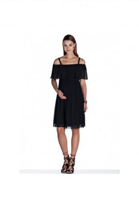 فستان حمل تول مزين بكشكش