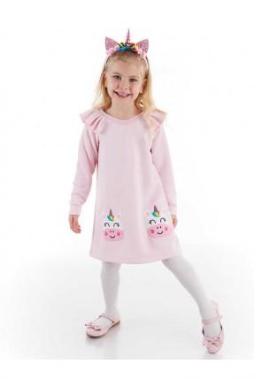 فستان اطفال بناتي مزين بجيب unicorn