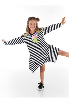فستان اطفال بناتي مخطط مزين بطبعة نجمة