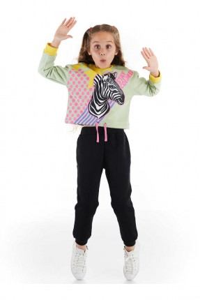 بيجاما رياضية اطفال بناتي مزينة بطبعة حمار وحشي
