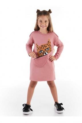 فستان اطفال بناتي مزين بطبعة نمر