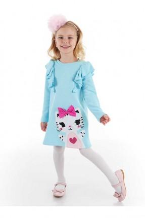 فستان اطفال بناتي مزين بطبعة قطة