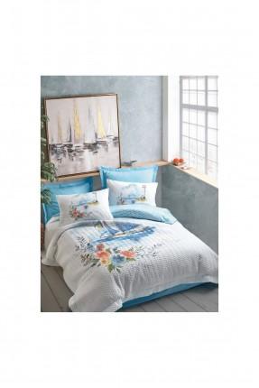 طقم غطاء سرير فردي مبطن برسم