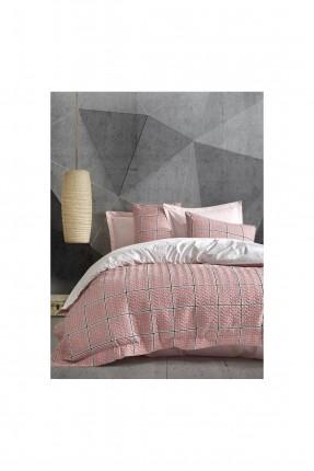 طقم غطاء سرير مزدوج مبطن بنقشة مربعات