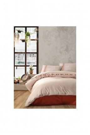 طقم غطاء سرير فردي مزين بحزوز