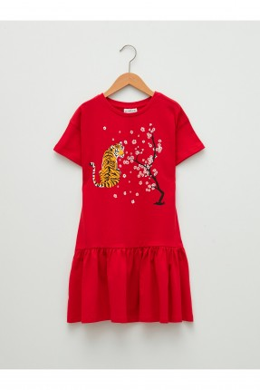 فستان اطفال بناتي مزين برسمة تايغر