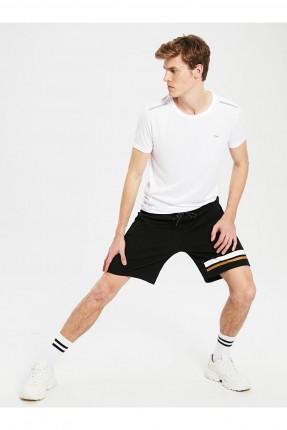 شورت رياضة رجالي بخطوط ملونة - اسود