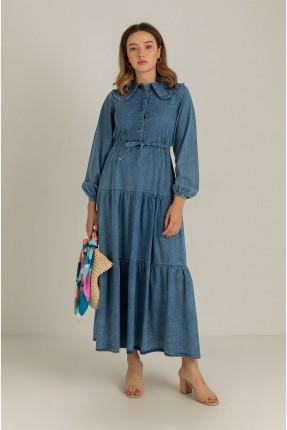 فستان جينز بخصر مزموم