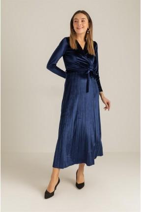 فستان رسمي مخمل مزين بطيات