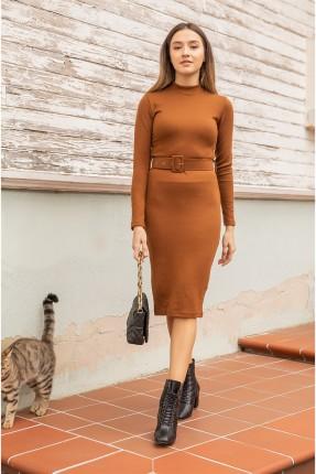 فستان سادة مزين بحزام