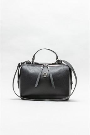 حقيبة يد نسائية جلد مزينة بقطعة معدنية