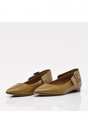 حذاء نسائي جلد مزين بحزام