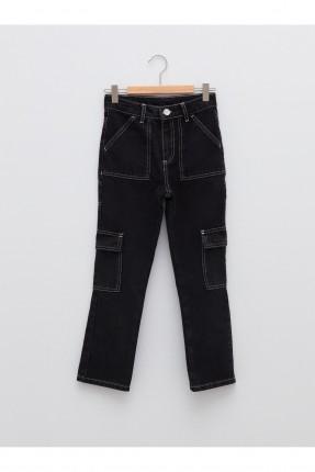 بنطال جينز اطفال بناتي مزين بحبكة خيط