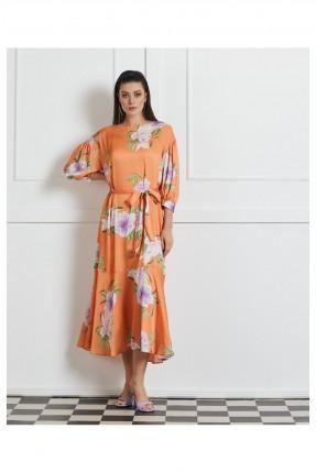 فستان رسمي باكمام مزمومة