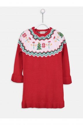 فستان اطفال بناتي تريكو راس السنة