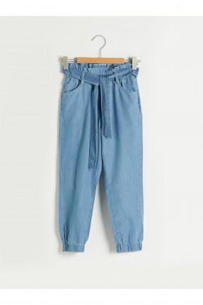 بنطال جينز اطفال بناتي بحزام رباط