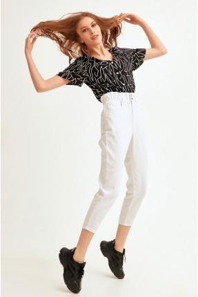 بنطال جينز نسائي بخصر مطاط