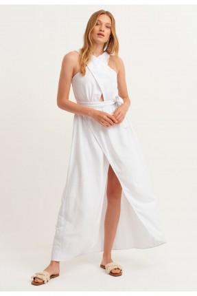 فستان مزين بفتحة على الخصر